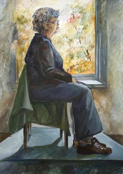 "Галина Протчева. ""Фигура на фоне окна"". Бумага, гуашь. 42х60, 2006 г."